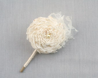 Sola Flower & Lace Lapel Pin // Cream, Mens Boutonniere, Ivory, Women's Corsage, Sola Wood, Wedding Boutonniere, Button Hole, Wedding Flower