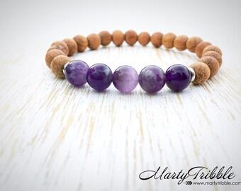 Purple Amethyst Bracelet, Wood Gemstone Healing Bracelet, Vegan Bracelet, Amethyst Jewelry, Amethyst Bracelet, Purple Crystal Gem Bracelet