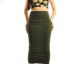 Pencil Skirt - Mid Calf High Waist Wiggle Skirt in Stretch Knit Cotton - Fitted Midi Skirt - Tight Maxi Skirt - Sizes XS, S, M, L, XL