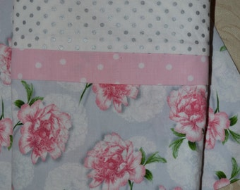 Pair of Pillowcases Handmade Cottage Beach Chic Shabby Roses Gray and Pink Standard Pillow Vintage Look