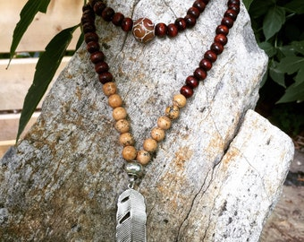 Yogi inspired 108 bead meditation mala necklace wood natural picture jasper with feather leaf pendant