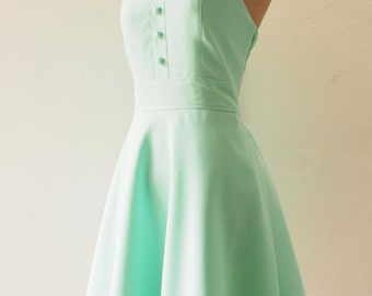 Mint Green Party Dress Vintage Inspired Mint Green Bridesmaid Dress Mint Green Dress Swing Skirt Modest Dress Sundress / XS-XL,custom