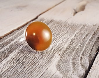 Ripple - Amber Banded Natural Agate Dome Statement Ring