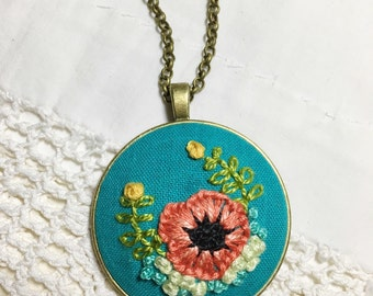 Poppy Necklace. Hand Embroidered Pendant. Gift for Her. Teal Jewelry. Floral Necklace. Boho Necklace Long. Nature Inspired Jewelry.