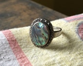 Vintage Sterling Silver Marcasite Abalone Shell Ring DESTASH AS IS