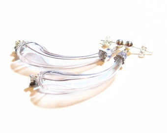 Genuine Murano Glass Long curved Blown Glass Earrings, Pale Purple Hollow Glass Earrings, Venetian Earring, Sterling Silver Posts, For Her