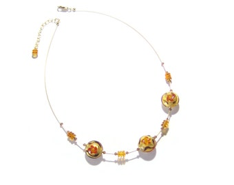 Murano Glass Topaz Bead Necklace, Venetian Jewelry, Italian Jewelry, Illusion Necklace, Amber Glass Necklace, Lampwork Jewelry, For Her