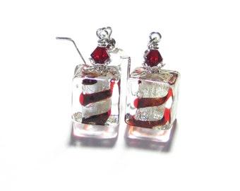 Murano Glass Red Swirl Cube Silver Earrings, Venetian Glass Jewelry, Dangle Clip On Earrings, Red Striped Earrings, Leverback Earrings