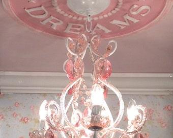 Girls Room Decor, Nursery Decor, Sweet Dreams Ceiling Medallion, Pink Chandeliers, Lighting, Shabby Chic Decor, Handmade, Marie Ricci, USA