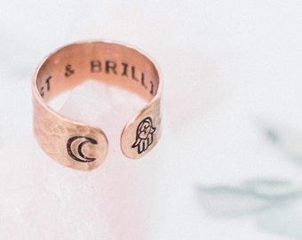 Be vast & Brilliant hamsa hand crescent moon copper secret message ring, customizable ring, inspirational gift, RTS RC002
