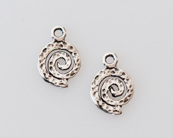 ChrmSS308 - Small Oxidized Sterling Silver Swirl Charms