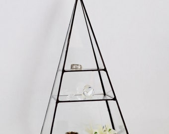Wedding Ring Holder Glass Box Pyramid Display Box Stained Glass Display Box Clear Glass Jewelry Box Pyramid with two shelves. Made To Order