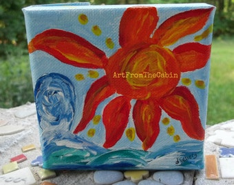 Beach Painting, Sun Painting, Ocean Painting, Sun and Ocean, Canvas Painting, 4x4 inches, Blue, Orange, Original Art, ArtFromTheCabin
