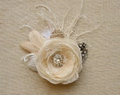 Rustic Wedding Hairpiece Bridal Hair Clip Headpiece Wedding Hair Flower Champagne Feather Flower Hair Accessory Vintage Ivory Beige Lace