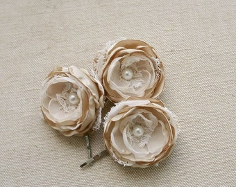 Champagne Wedding Hair Flowers Bridal Hair Clips Bridal Accessories Rustic Small Bridal Hairpiece Bridesmaid Champagne Sand Beige Ivory Lace