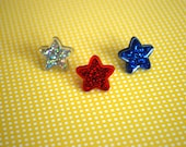 Star Earrings -- Studs, Star Studs, Red, Silver and Blue Stars, 4th of July Earrings, Choose Your Color!
