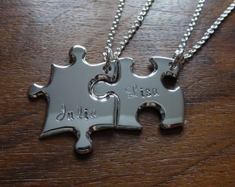 Personalised Best Friend Puzzle Pendants with Names 5
