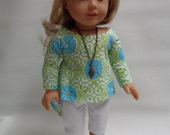 18 inch American Girl Doll Clothes - Summer Twirly Top and White Leggings-Beach Outfit
