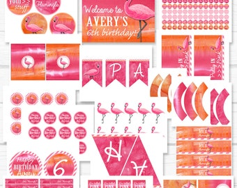 """Personalized Diy """"Flamingle"""" Flamingo Watercolor Girl Birthday Party Digital Printable Party Package"""