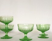 Reserved for Saia Four Champange/Compote Glasses 6 fl. oz. Green Translucent Uranium Vaseline Glass