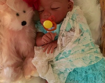 Completed Bi Racial Desiree Completed Reborn Baby Doll from the Baylee 21 inch kit