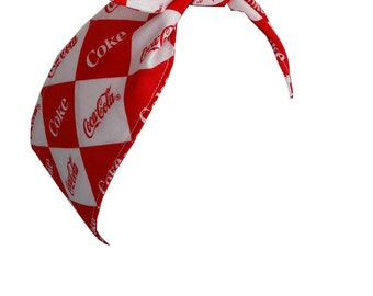 Rockabilly Hair Wrap - Argyle Coca Cola -  Pin Up, Psychobilly, Retro, Goth - Poofhawk