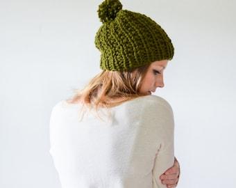 FALL SALE chunky knit womens slouchy hat beanie pom hat - cilantro - the WINDSOR
