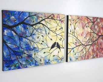 SALE 20% OFF Large Love Birds Heart Tree Painting Lovebirds Romance Colorful Over Bed Canvas Art Diptych Silhouette 14x36 JMichael