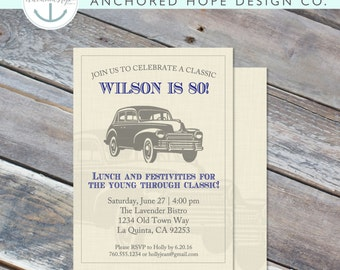Classic Car Birthday Invitation - 5x7 - 40th, 50th, 60th, 70th, 80th - Linen - Oldies - Hot Rod-  Digital Printable File - Cardstock
