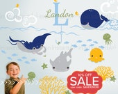 Ocean Wall Decals with Custom Name | Nautical Baby Nursery, Children's Room Interior Design | Easy Squeegee Application  035