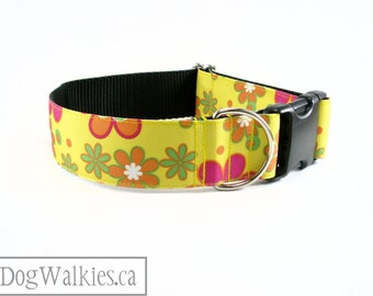 """Happy Flowered Sunshine Dog Collar // 1.5"""" (38mm) Wide // Quick Release or Wide Martingale // Choice of style and size // Yellow // Orange"""