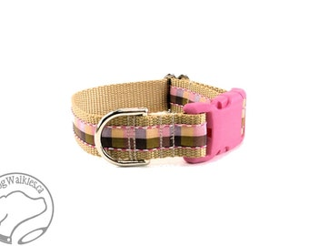 """Apple Blossom Plaid Dog Collar - 1"""" (25mm) Wide - Choice of collar style and size - Martingale Dog Collars or Quick Release Buckle"""