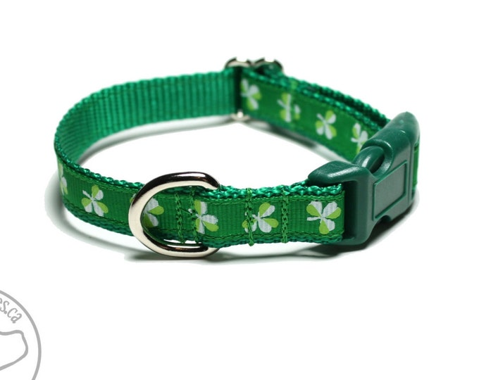 Featured listing image: Little Clover St. Patricks Day Dog Collar - Thin Dog Collar - Your Choice of Collar Style and Size - Green Dog Collar