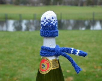 Blue & White Football beanie Hat Knit Wine or Beer Bottle Cover Cozy Topper Knitted Scarf. Christmas Gift Idea