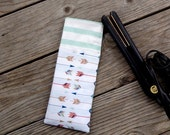 Gold and Multi Color Arrow print with Mint Stripes Travel Flat Iron Cover, Curling Iron Case, Hot Iron Case