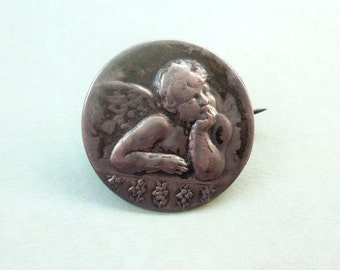 Antique 800 Silver Cherub Brooch - Michelangelo Angel Cherub Pin - Victorian Angel Jewelry