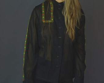 Vintage ethnic braided shirt / cute black button up gauze retro 1970s hippie top with bright floral braid / tyrolienne shirt