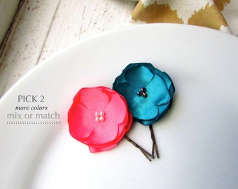 CHOOSE 2, Coral Pink & Teal Hair Accessories, Small Satin Flowers for Hair Pins, Silk Fabric Flower Bobby, Small Floral Hair piece for Girls