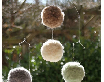Baby Mobile, Mobile Baby, Baby Crib Mobile, Modern Baby Mobile, Pom Pom, Down to Earth - Natural Beige, Grey, Cream White, Seafoam