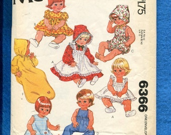 Vintage 1978 McCalls 6366 Baby Doll Clothes Pattern for 15 & 17 inch Dolls