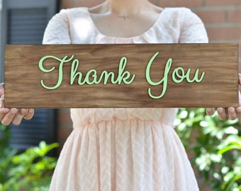 Wooden Thank You sign- rustic wedding sign- photo prop- customize the color of letters!