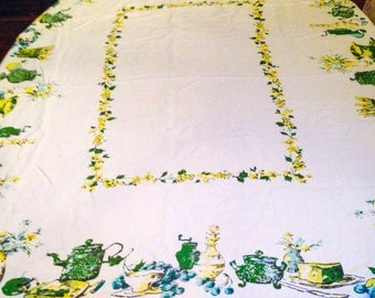 "SALE > Vintage Mid Century Tablecloth 57"" x 62"" / Ivory Linen with Green, Blue and Yellow Screened Graphics"