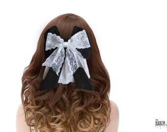 LHB1 Lolita Hair Bow Black Cotton and White Lace Barrette