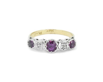 The Diamond & Ruby Eternity Ring - Vintage 18ct Gold Platinum Ring