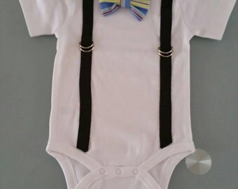 Bow-tie Onesie with Suspenders - size 3-6 months