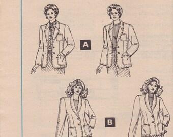 Tailored Blazer Pattern McCalls 8290 Size 8 Uncut