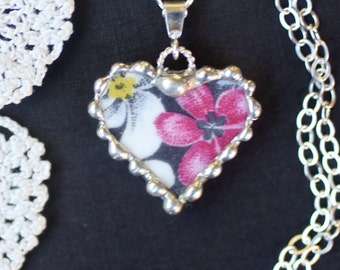 Necklace, Broken China Jewelry, Petite China Heart, Pink Surprise, Sterling Silver, Soldered Jewelry