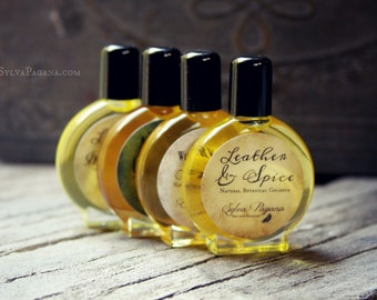 Natural cologne organic - LEATHER AND SPICE - rich leathe scent allspice clove - choose size