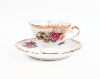 Vintage Lefton Pink Rose Teacup Saucer Hand Painted Made in Japan Brushed Gold White Porcelain Lefton China Tea Cup