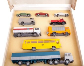 Vintage Mercedes Benz Wiking 9 Piece Box Set Made in Germany HO Scale Vehicle Collection German Cars And Trucks